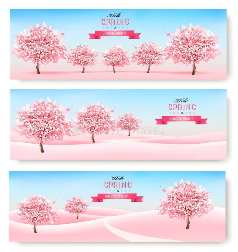 Tres banderas de la primavera con los árboles rosados y paisaje de la flor de cerezo ilustración del vector