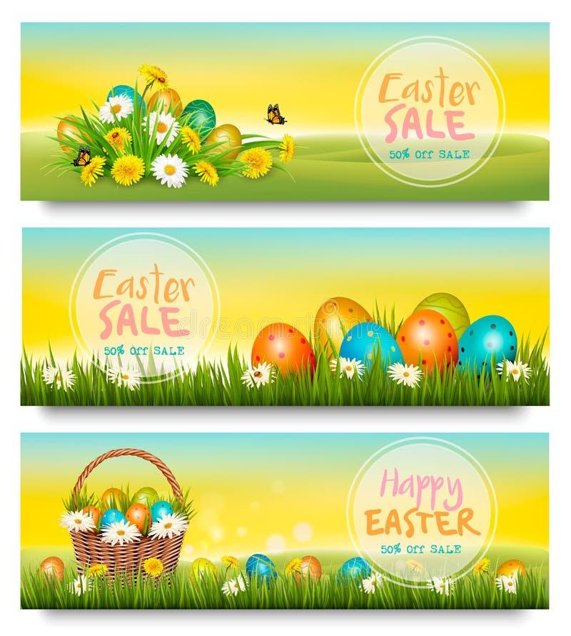 Tres banderas de la venta de Pascua Huevos coloridos en flores de la hierba verde y de la primavera stock de ilustración
