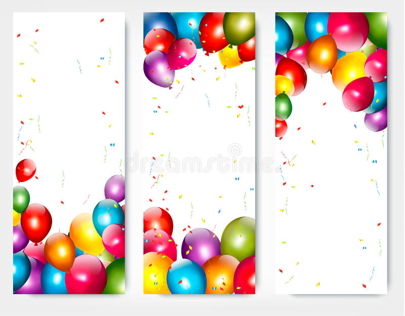 Tres banderas del cumpleaños del día de fiesta con los globos ilustración del vector