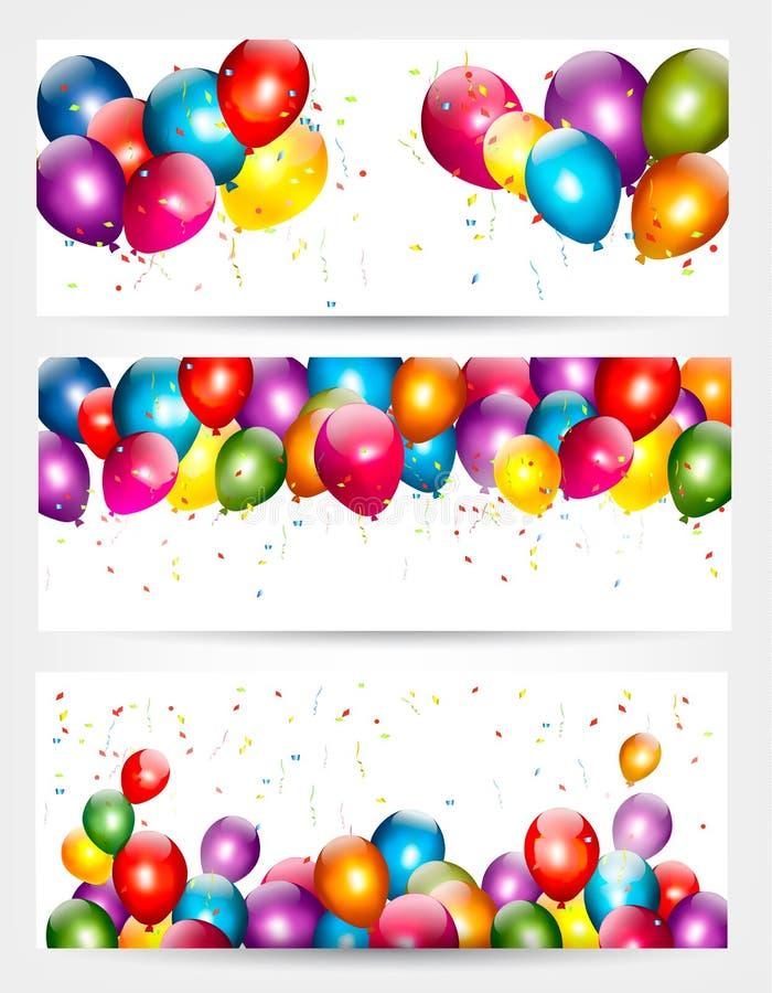 Tres banderas del cumpleaños del día de fiesta con los globos stock de ilustración