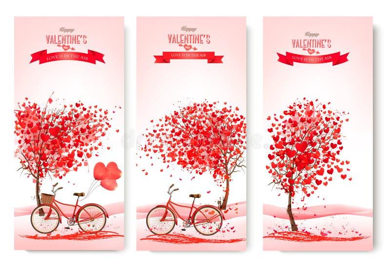 Tres banderas del día de tarjeta del día de San Valentín con los árboles rosados libre illustration