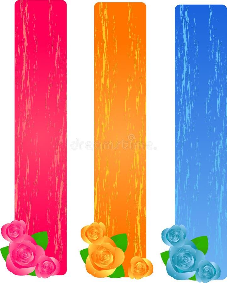 Tres banderas del grunge con las rosas ilustración del vector