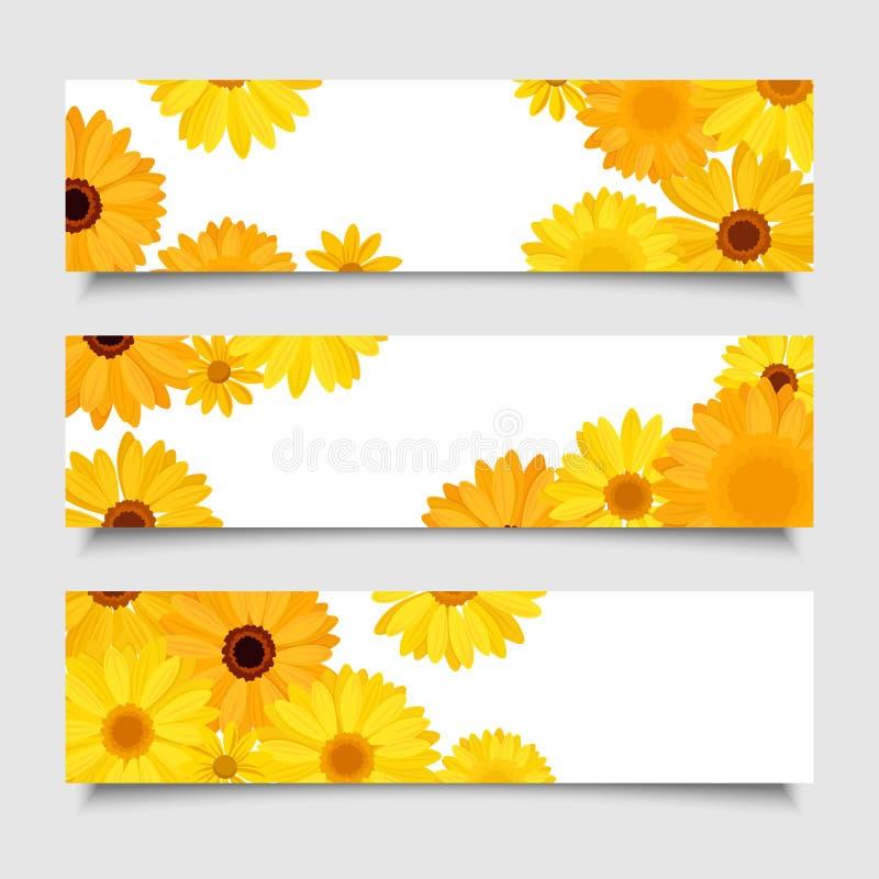 Tres banderas del vector con el gerbera anaranjado y amarillo florecen ilustración del vector