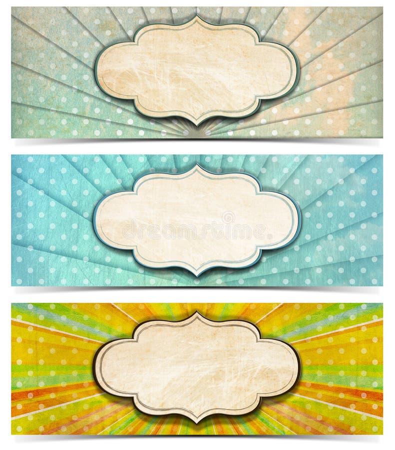 Tres banderas del vintage libre illustration