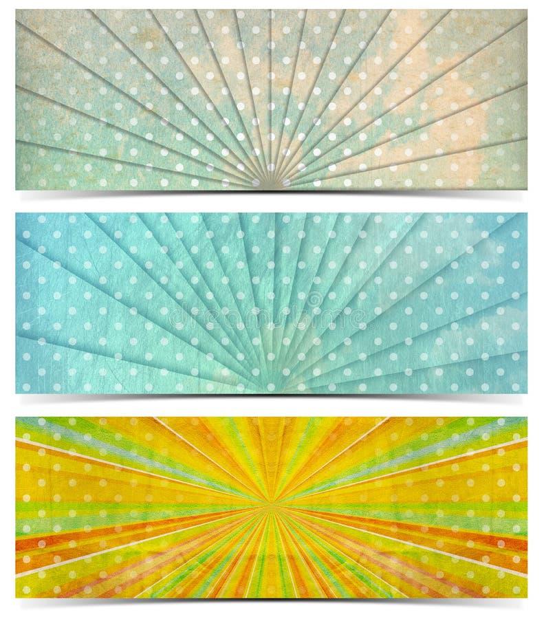 Tres banderas del vintage ilustración del vector