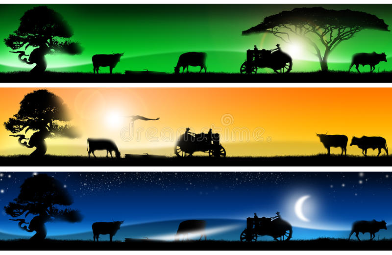 Tres banderas fantásticas de los paisajes del campo ilustración del vector