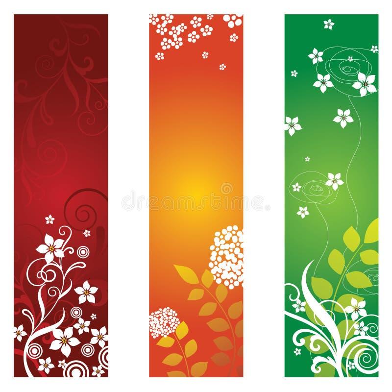Tres banderas florales hermosas ilustración del vector