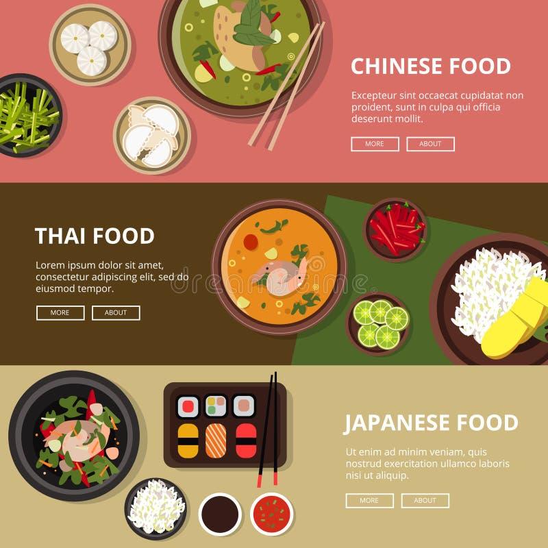 Tres banderas horizontales con la comida tailandesa, japonesa y china Ejemplos del vector con el lugar para su tex ilustración del vector