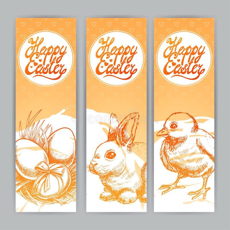 Tres banderas para Pascua ilustración del vector