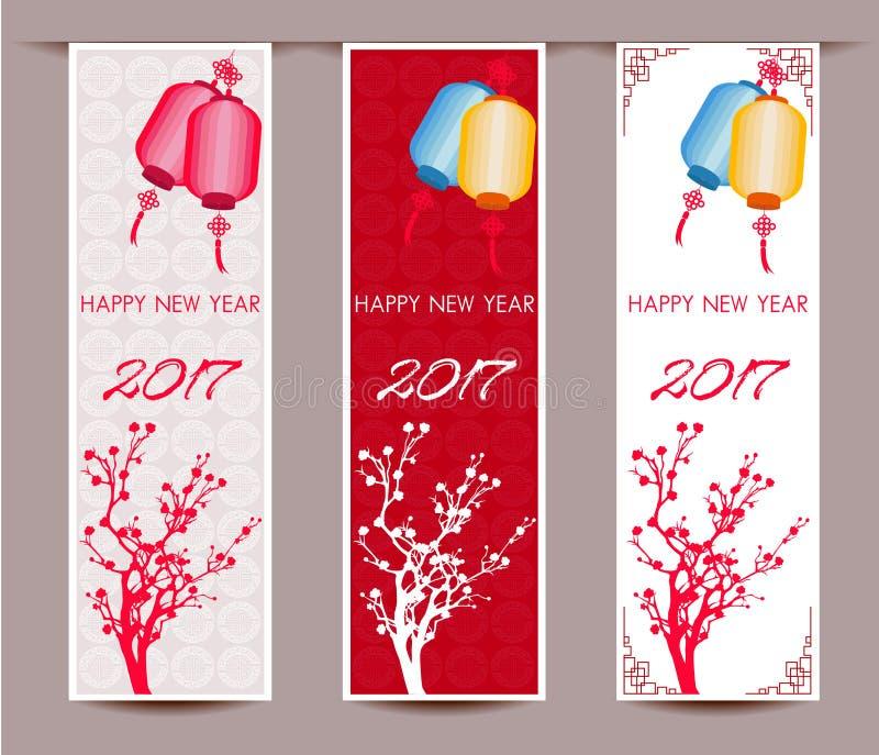 Tres banderas verticales fijaron por el Año Nuevo chino del gallo ilustración del vector