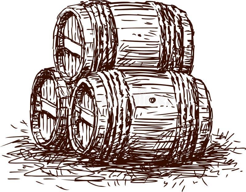 Tres barriles ilustración del vector