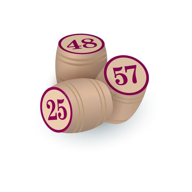 Tres barriletes de madera del estilo retro para el juego de la loteria del bingo libre illustration