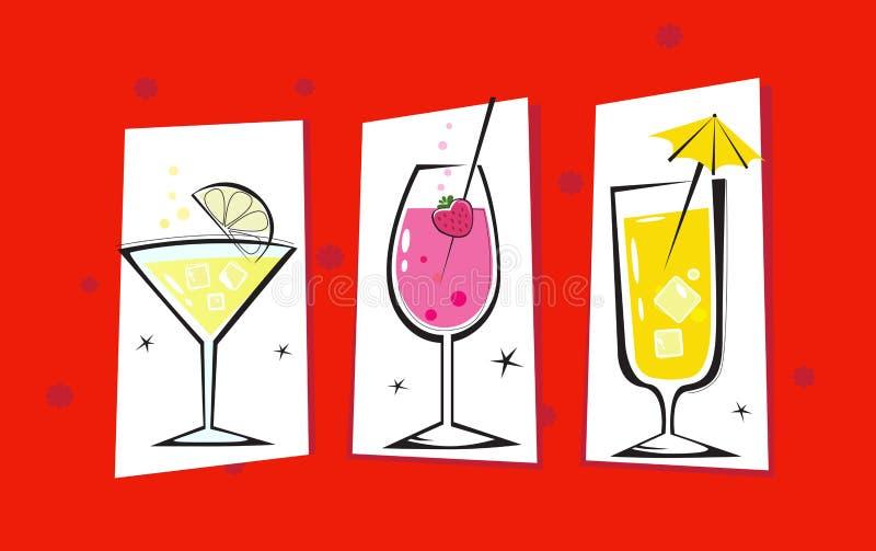 Tres bebidas retras aisladas en fondo rojo ilustración del vector