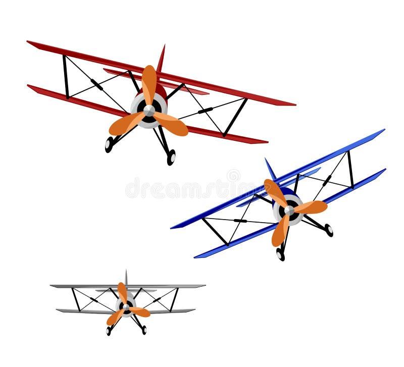 Tres biplanos stock de ilustración