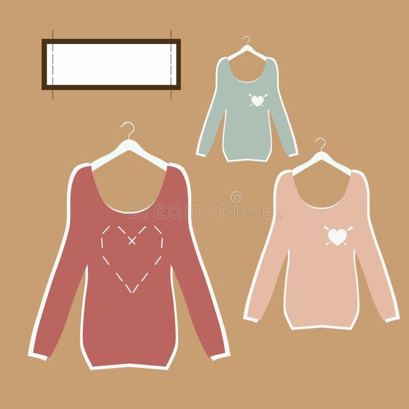Tres blusas hermosas en suspensiones en vector retro del estilo. ilustración del vector