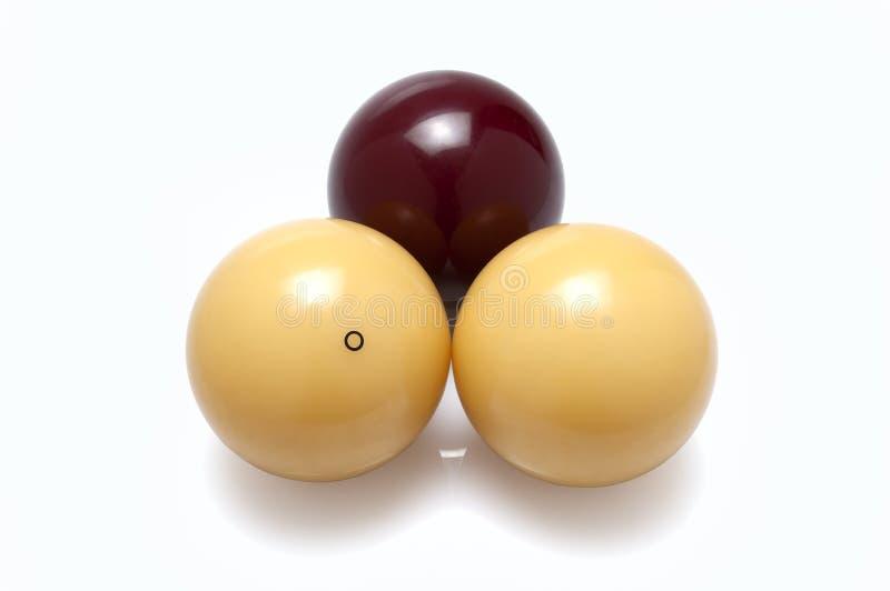 Tres bolas de billar fotografía de archivo