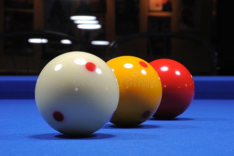 Tres bolas de billar I imagen de archivo libre de regalías