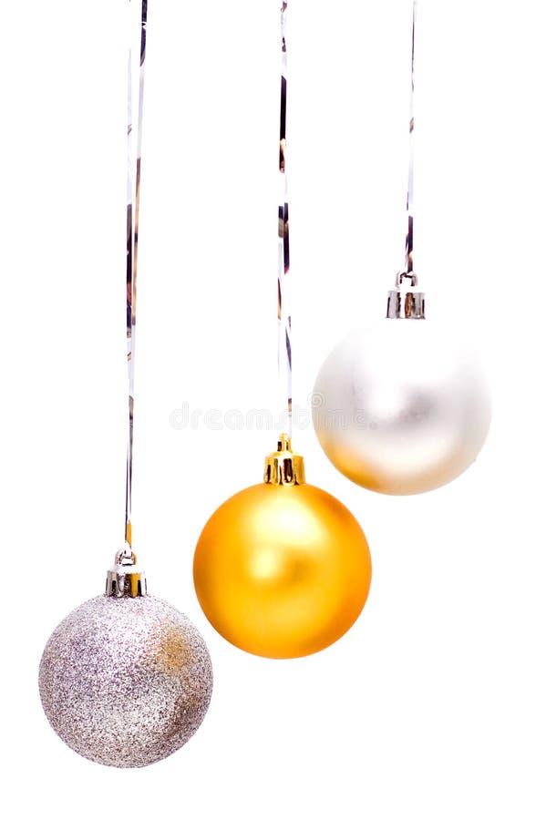 Tres bolas de la Navidad fotos de archivo