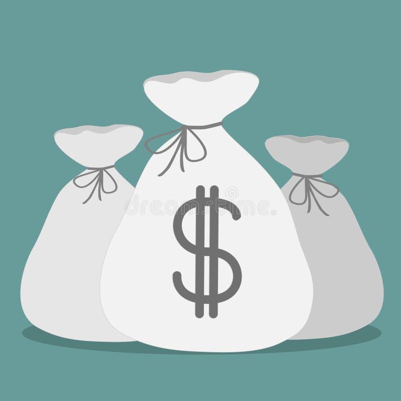 Tres bolsos con la muestra de dólar. Icono. libre illustration