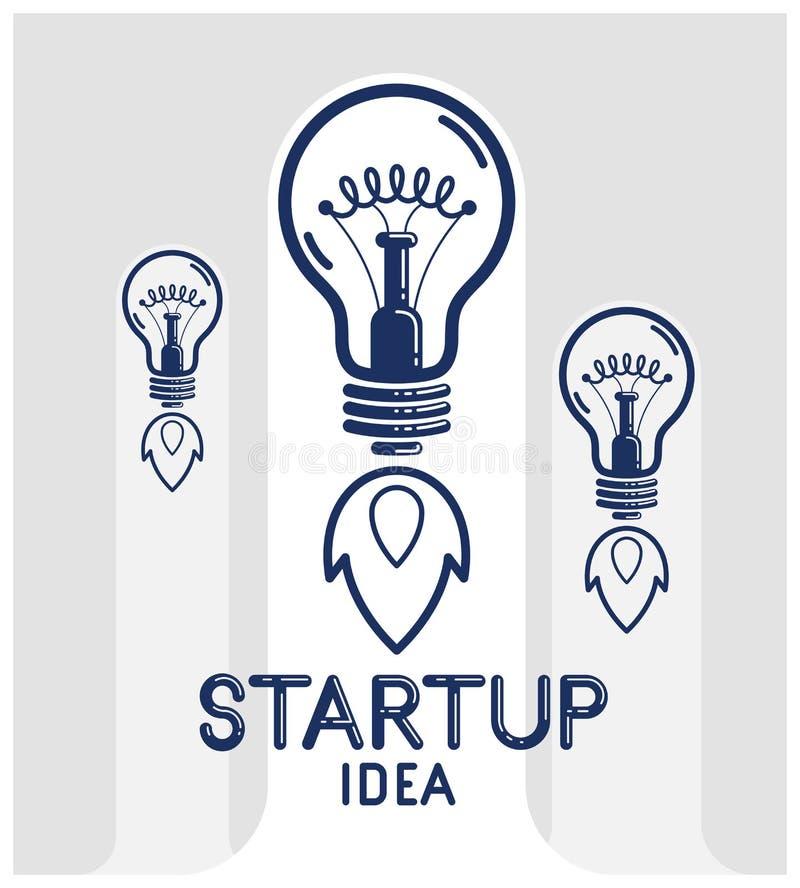 Tres bombillas de la idea que lanzan como un logotipo o un cartel linear del vector de los cohetes, inicio creativo de la idea, i libre illustration