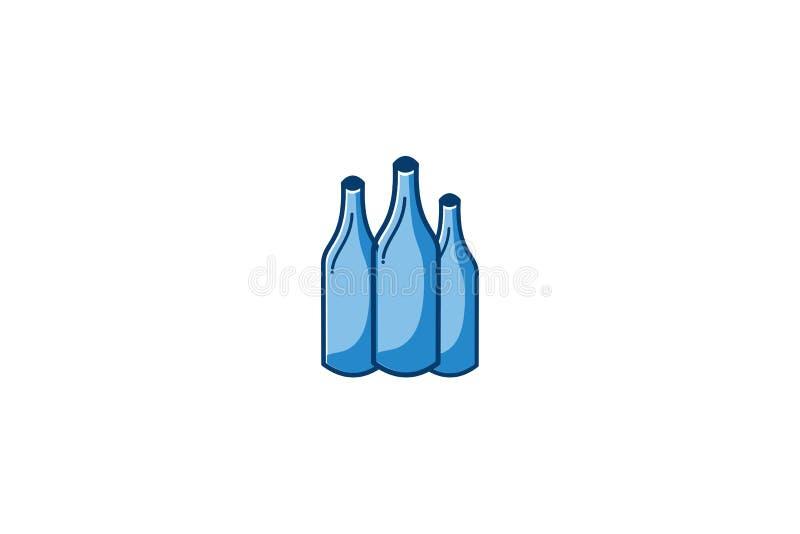 Tres botella azul Logo Designs Inspiration Isolated en el fondo blanco stock de ilustración