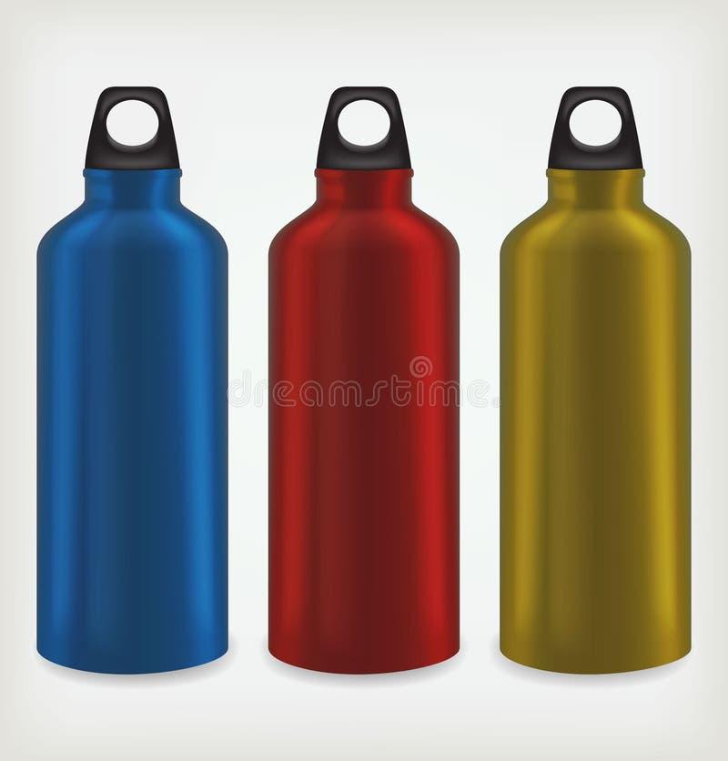Tres botellas de agua ilustración del vector