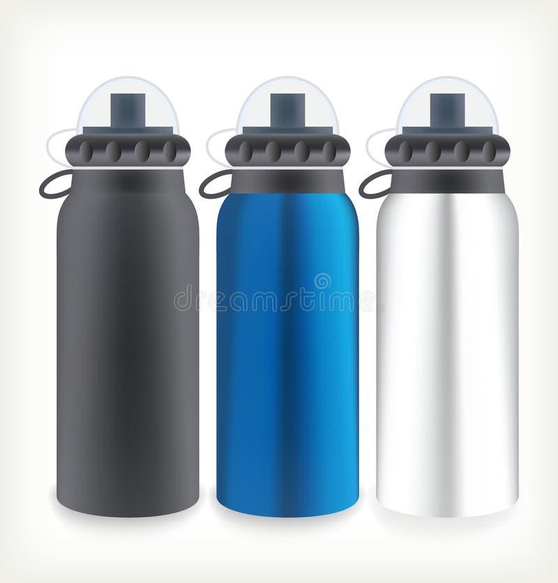 Tres botellas de agua stock de ilustración