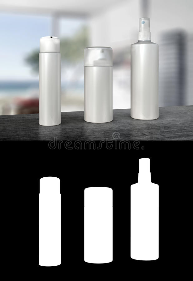 Tres botellas del dispensador o botellas del espray de la bomba ilustración del vector