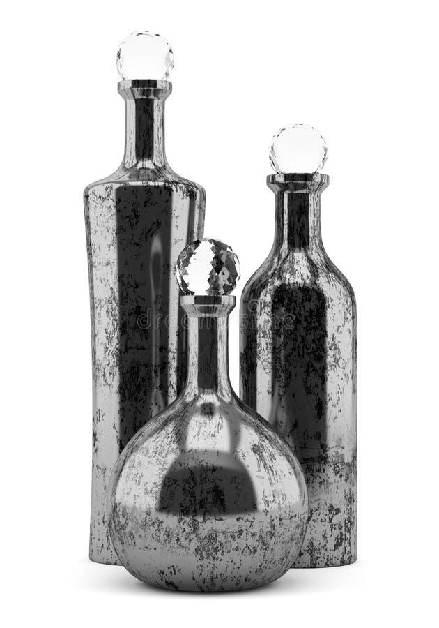 Tres botellas metálicas aisladas en blanco stock de ilustración