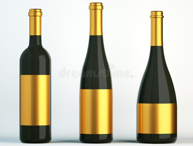 Tres botellas negras para el vino con las etiquetas de oro stock de ilustración