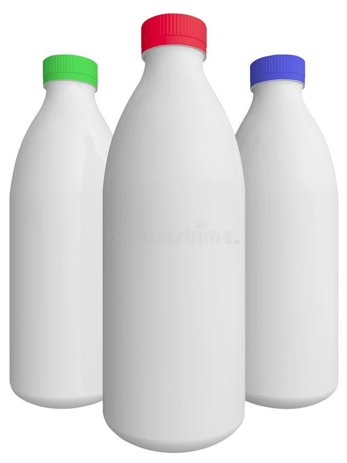 Tres botellas para la leche foto de archivo libre de regalías