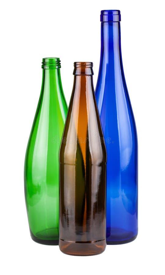 Tres botellas vacías imagen de archivo