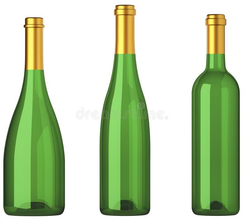 Tres botellas verdes para el vino con las etiquetas de oro aisladas libre illustration
