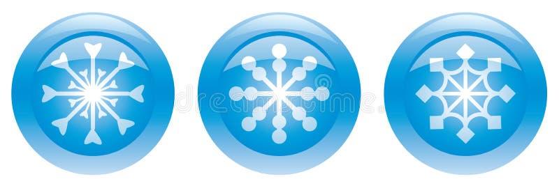 Tres botones azules con los copos de nieve libre illustration