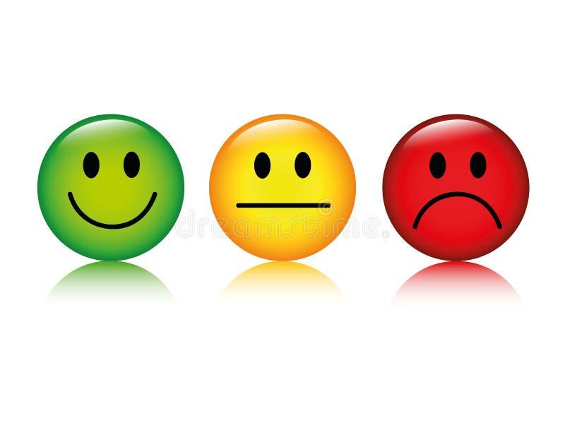 Tres botones sonrientes del grado del emoticon verdes al rojo stock de ilustración