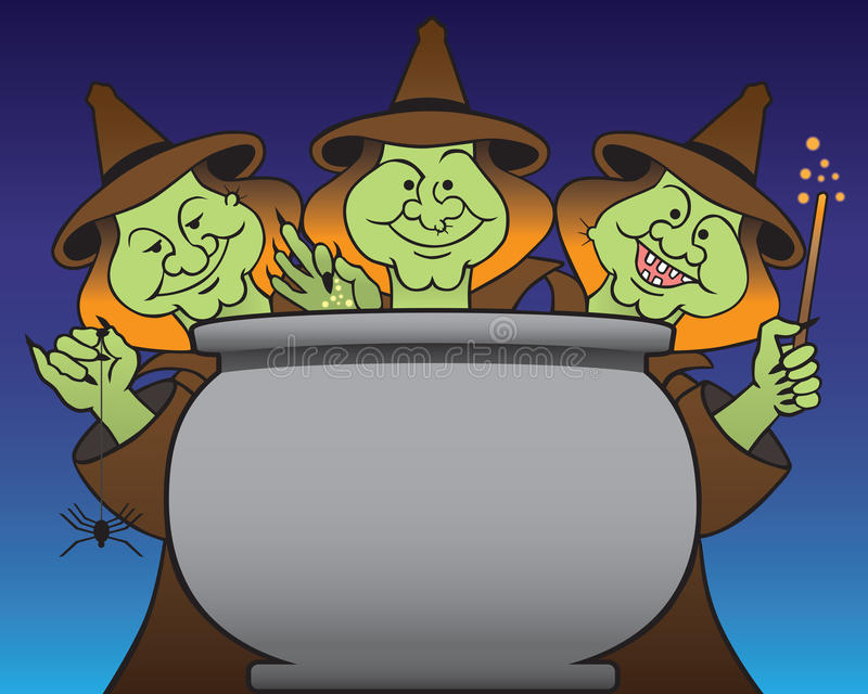 Tres brujas stock de ilustración