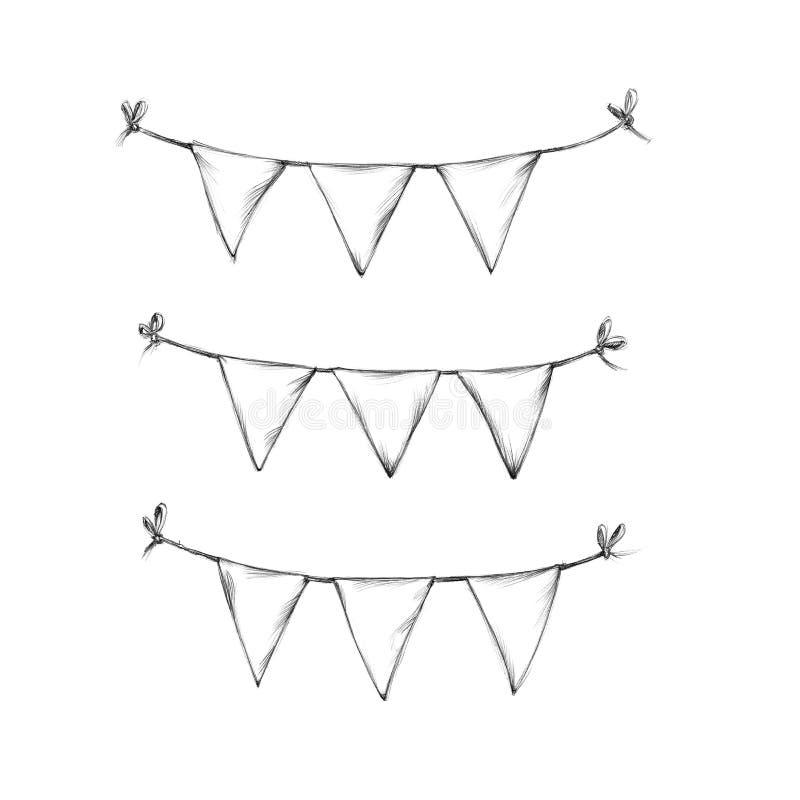 Tres cadenas cortas del banderín ilustración del vector