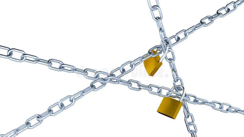 Tres cadenas del metal con dos candados stock de ilustración