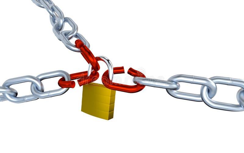 Tres cadenas metálicas con tres subrayaron vínculo cerradas con un candado libre illustration