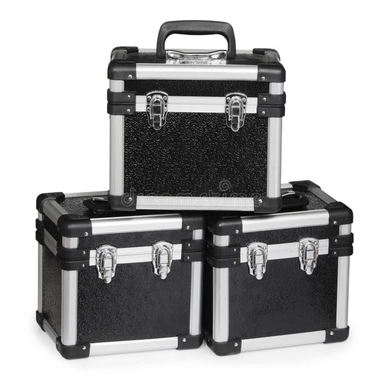 Tres cajas negras fotografía de archivo libre de regalías