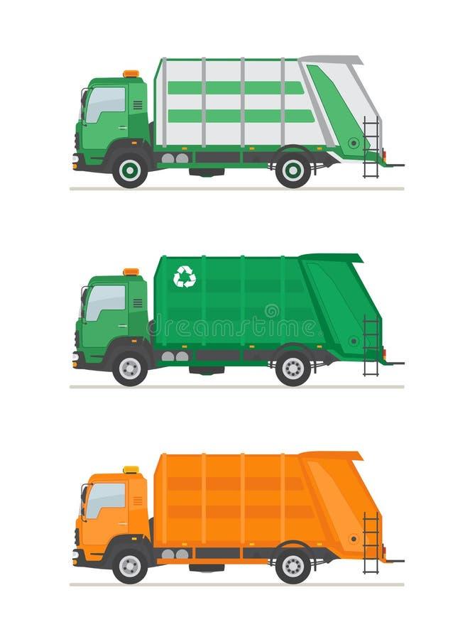 Tres camiones de basura aislados en el fondo blanco Equipo de la utilización de la basura stock de ilustración