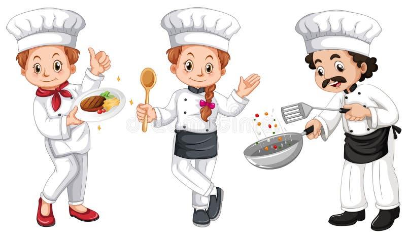 Tres caracteres de cocineros ilustración del vector