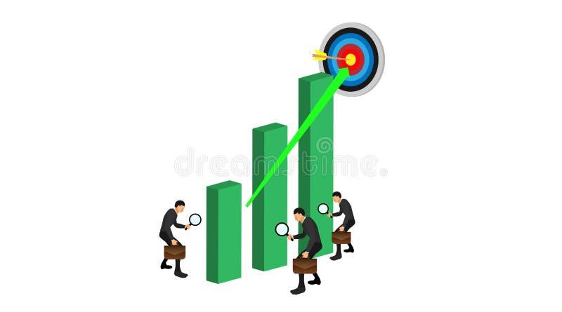 Tres caracteres traen el lazo para comprobar la carta verde y los puntos de la blanco arriba El ejemplo conceptual examina un grá libre illustration