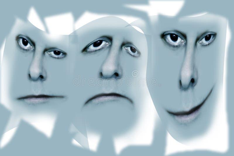 Tres caras en gris imagen de archivo