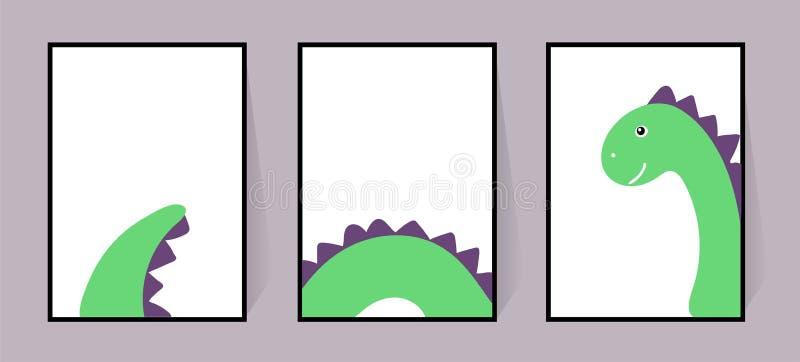 Tres carteles con un dinosaurio verde lindo Vector Dino fresco Fijado para las paredes, tarjetas, invitaciones Dibujo escandinavo ilustración del vector