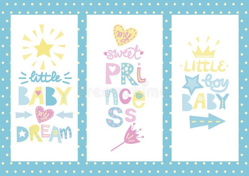 Tres carteles del bebé con las etiquetas libre illustration