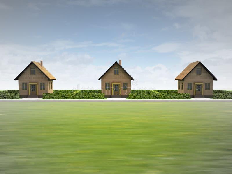 Tres casas en vecindad feliz fotos de archivo libres de regalías
