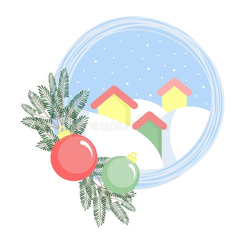 Tres casas en nieves acumulada por la ventisca con las ramas del abeto y las bolas de la Navidad ilustración del vector