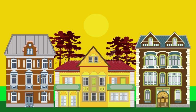 Tres casas residenciales stock de ilustración