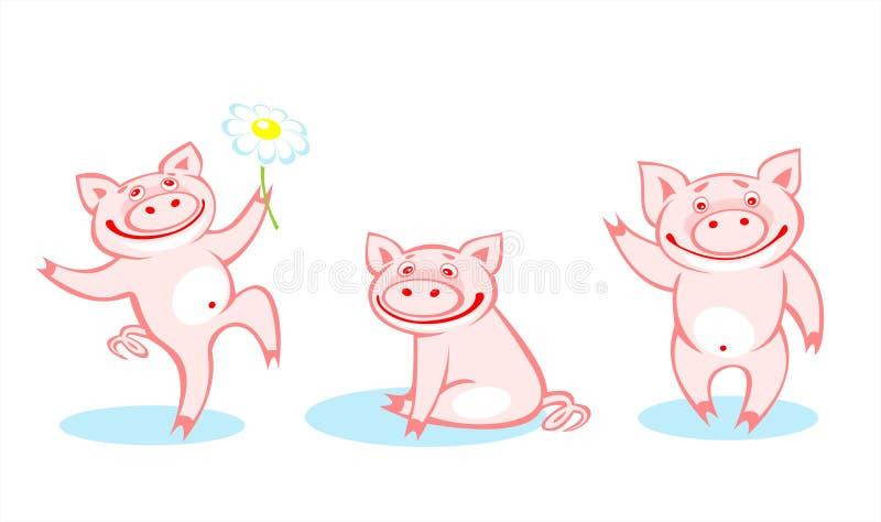 Tres cerdos ilustración del vector